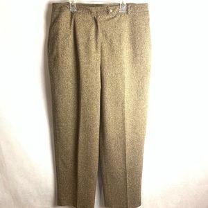Talbots Wool Blend Tweed Stretch Pants Brown 14